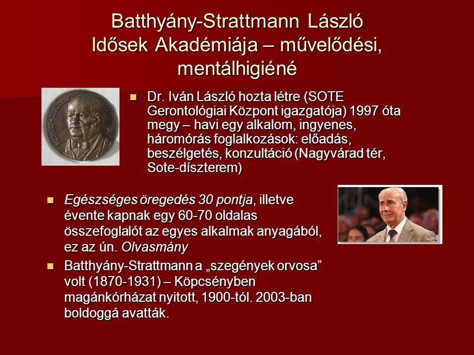Batthyány-Strattmann László Idősek Akadémiája – művelődési, mentálhigiéné