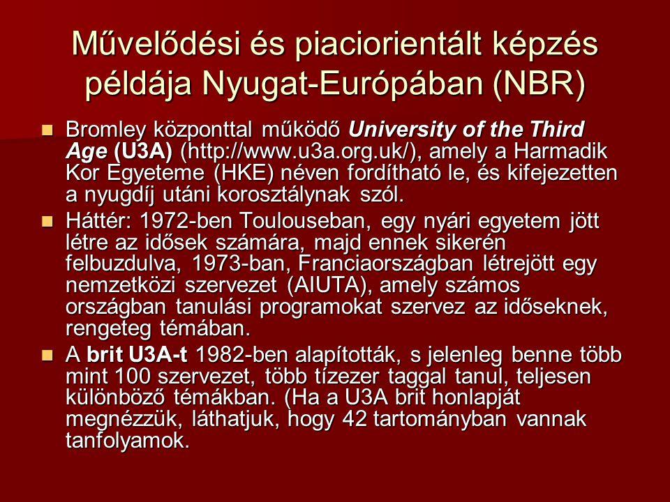 Művelődési és piaciorientált képzés példája Nyugat-Európában (NBR)
