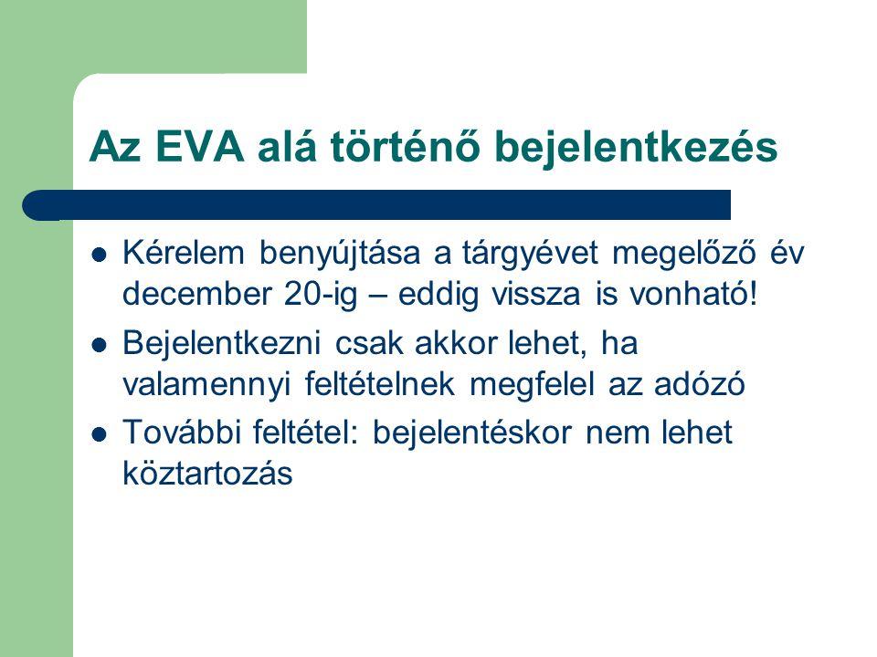 Az EVA alá történő bejelentkezés