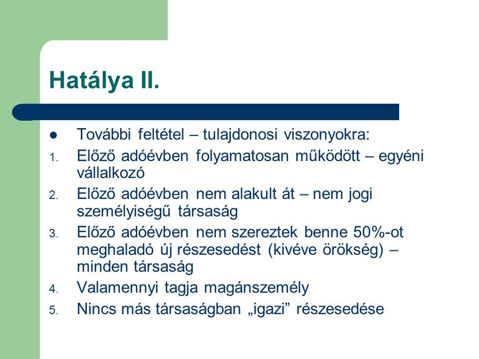 Hatálya II. További feltétel – tulajdonosi viszonyokra:
