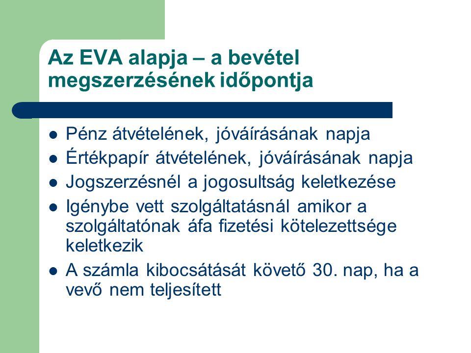Az EVA alapja – a bevétel megszerzésének időpontja