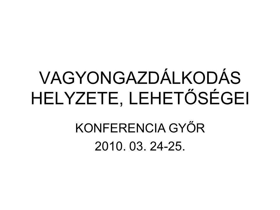 VAGYONGAZDÁLKODÁS HELYZETE, LEHETŐSÉGEI