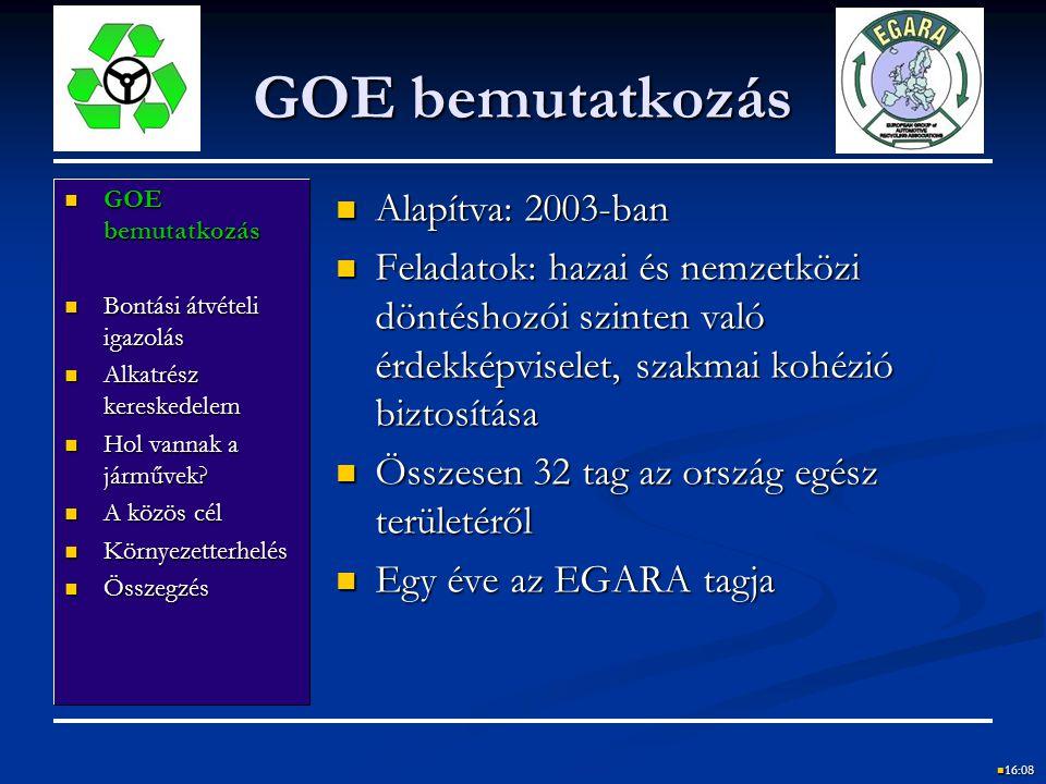 GOE bemutatkozás Alapítva: 2003-ban