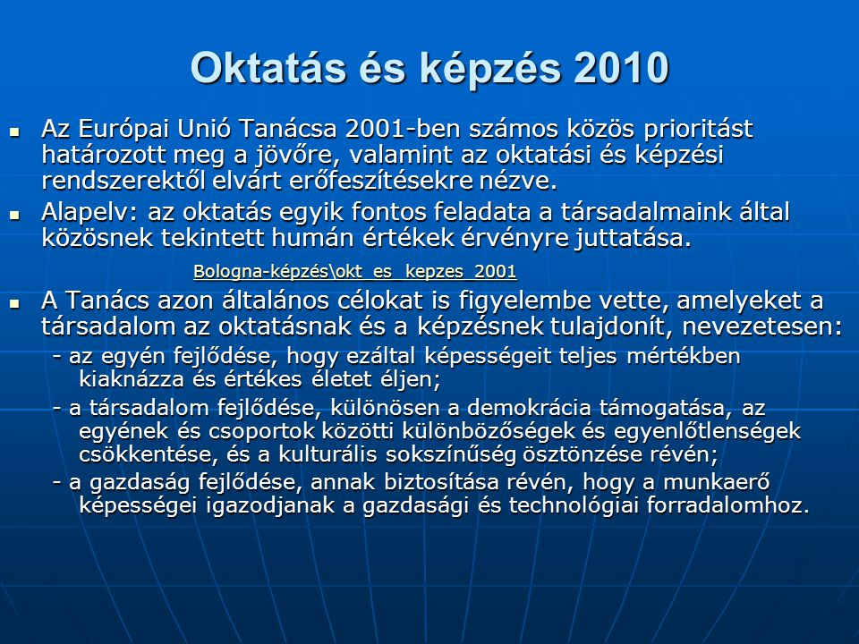 Oktatás és képzés 2010
