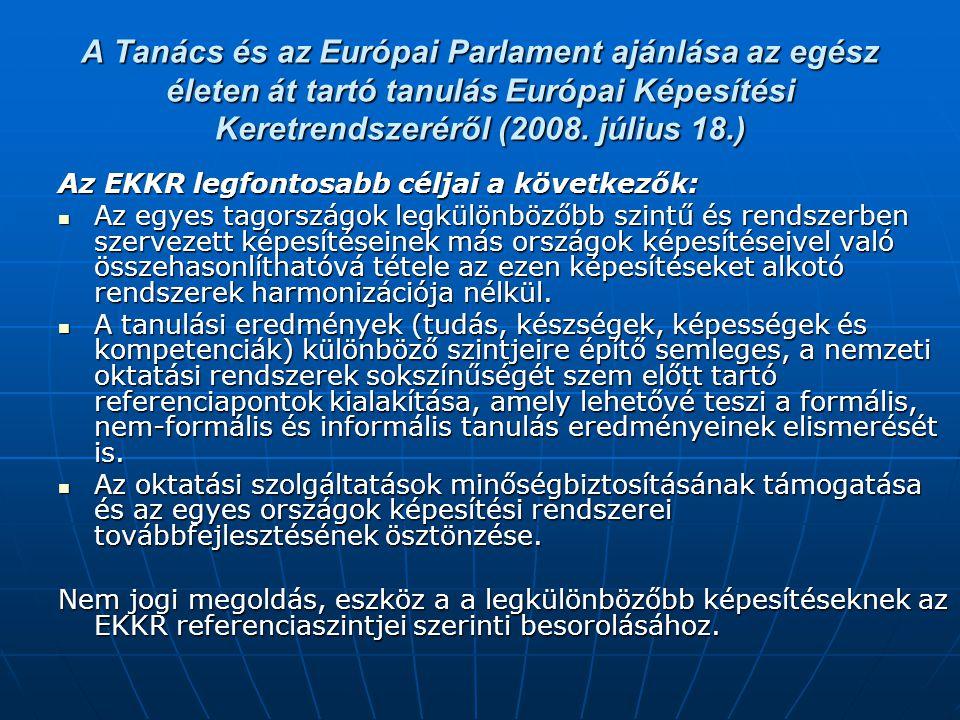 A Tanács és az Európai Parlament ajánlása az egész életen át tartó tanulás Európai Képesítési Keretrendszeréről (2008. július 18.)