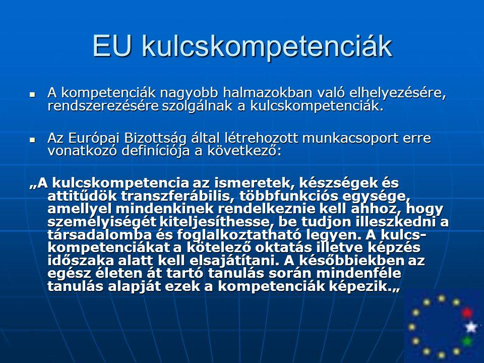EU kulcskompetenciák A kompetenciák nagyobb halmazokban való elhelyezésére, rendszerezésére szolgálnak a kulcskompetenciák.