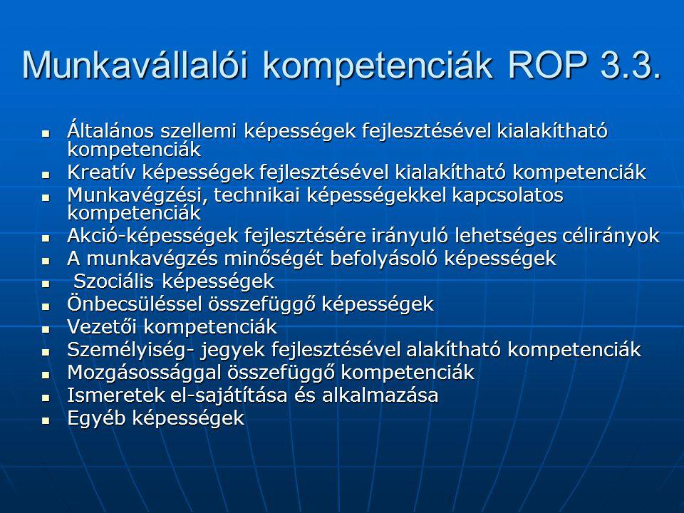 Munkavállalói kompetenciák ROP 3.3.