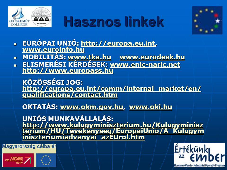 Hasznos linkek EURÓPAI UNIÓ: http://europa.eu.int, www.euroinfo.hu