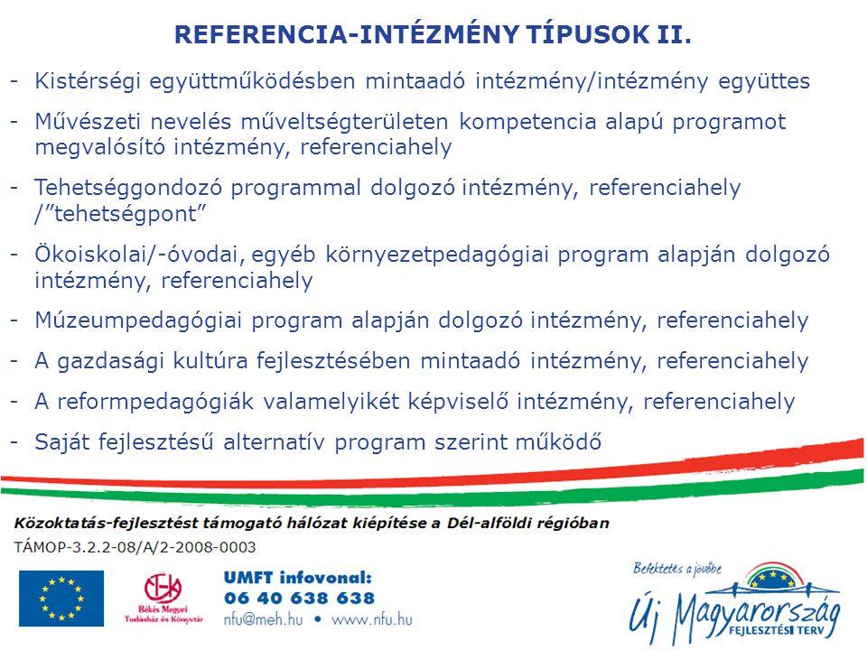 REFERENCIA-INTÉZMÉNY TÍPUSOK II.