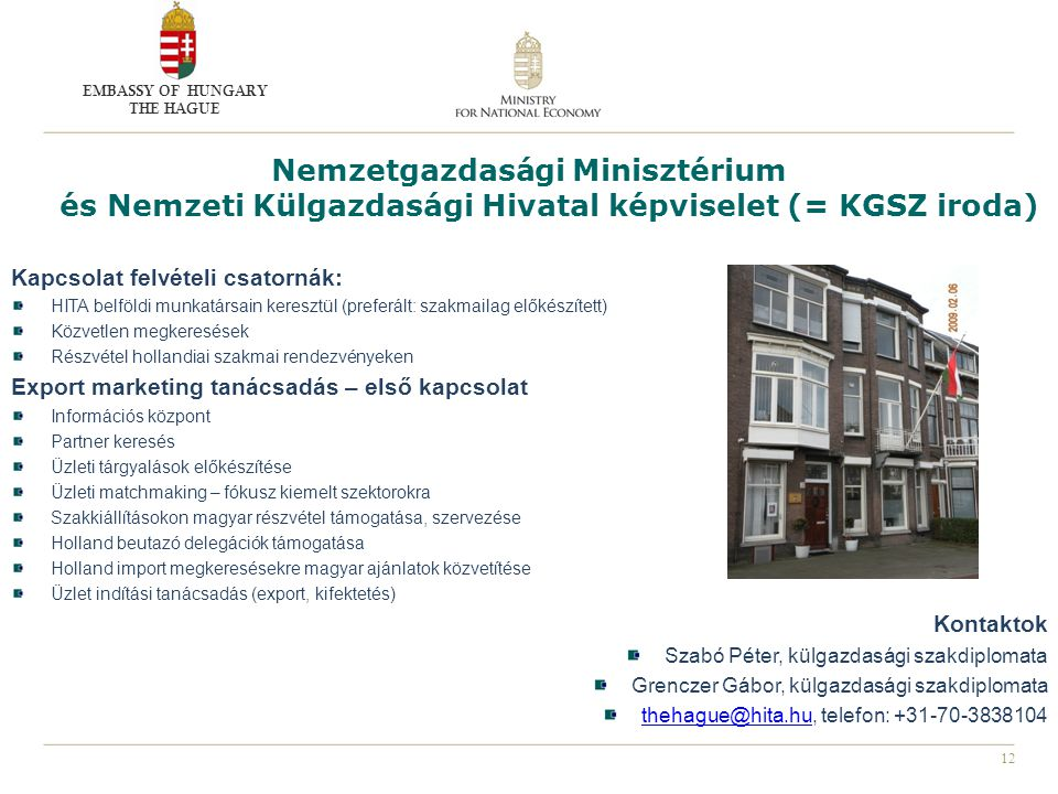 EMBASSY OF HUNGARY THE HAGUE. Nemzetgazdasági Minisztérium és Nemzeti Külgazdasági Hivatal képviselet (= KGSZ iroda)