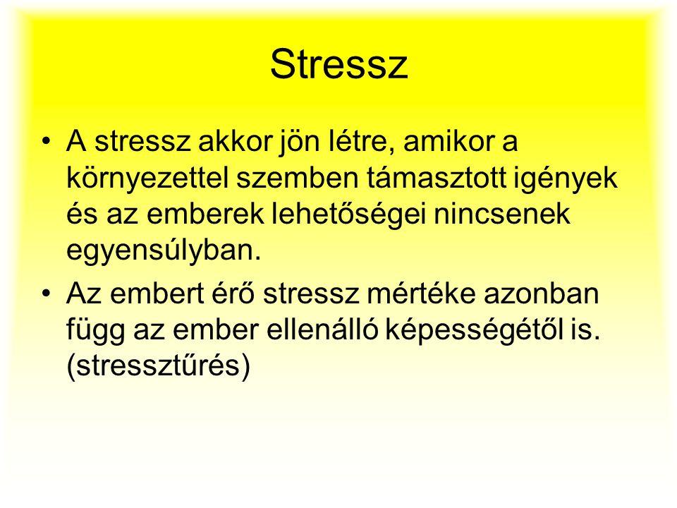 Stressz A stressz akkor jön létre, amikor a környezettel szemben támasztott igények és az emberek lehetőségei nincsenek egyensúlyban.