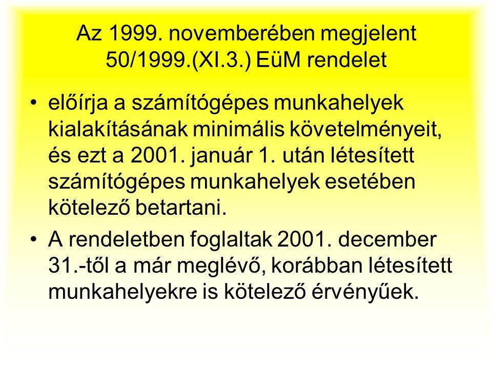 Az 1999. novemberében megjelent 50/1999.(XI.3.) EüM rendelet