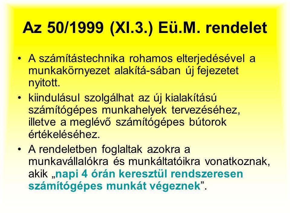 Az 50/1999 (XI.3.) Eü.M. rendelet A számítástechnika rohamos elterjedésével a munkakörnyezet alakítá-sában új fejezetet nyitott.