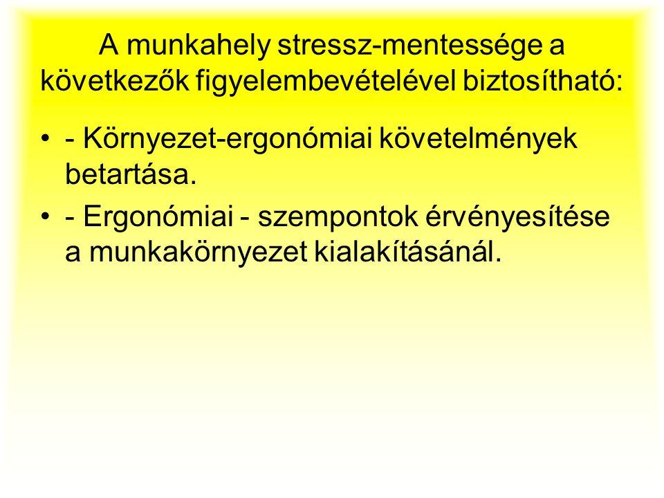 A munkahely stressz-mentessége a következők figyelembevételével biztosítható: