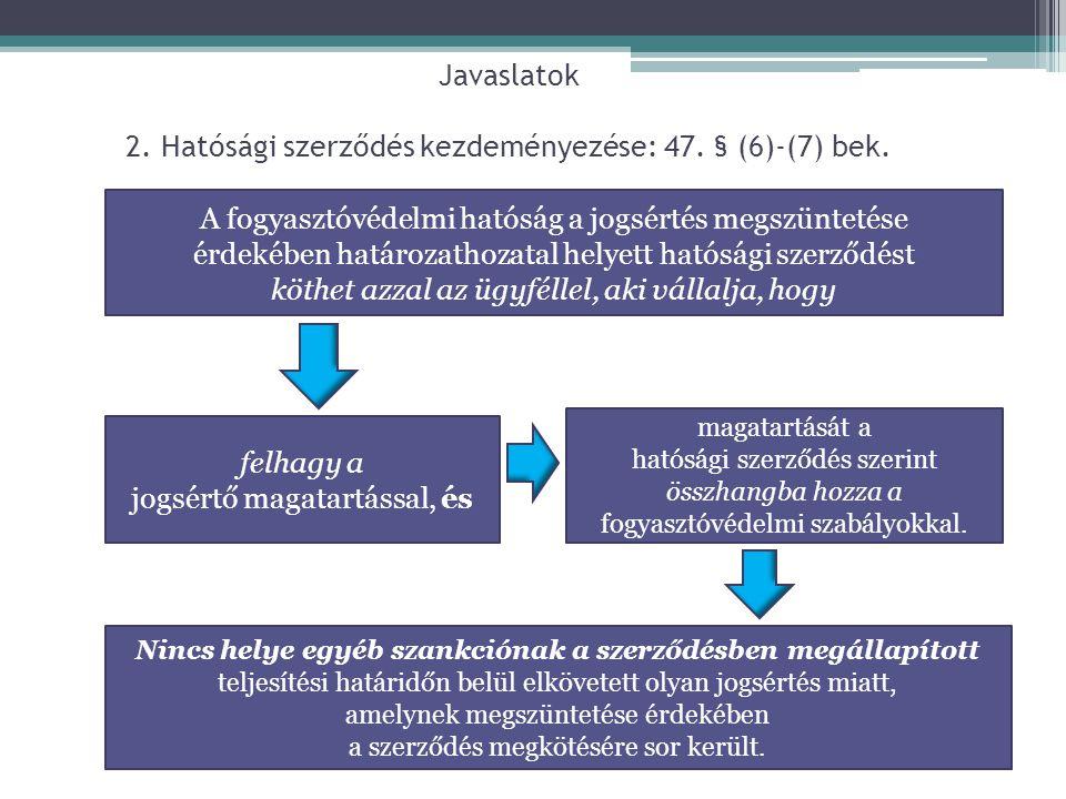 Javaslatok 2. Hatósági szerződés kezdeményezése: 47. § (6)-(7) bek.
