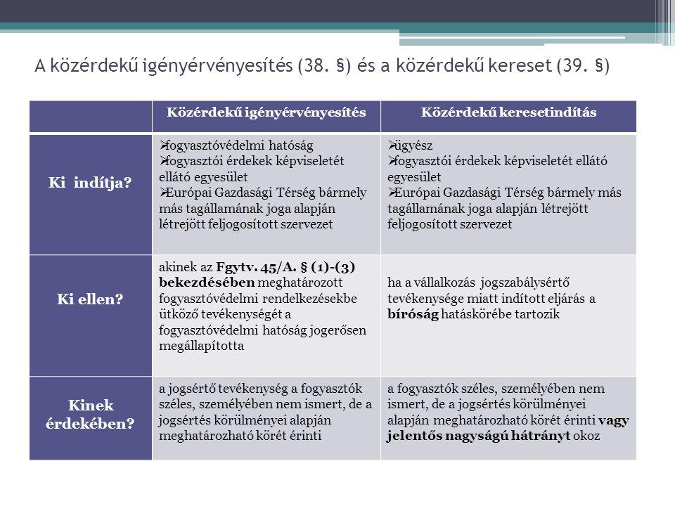 A közérdekű igényérvényesítés (38. §) és a közérdekű kereset (39. §)