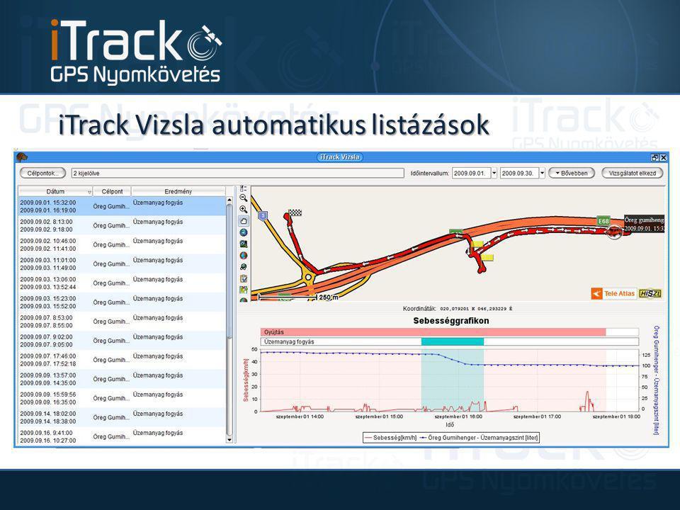 iTrack Vizsla automatikus listázások