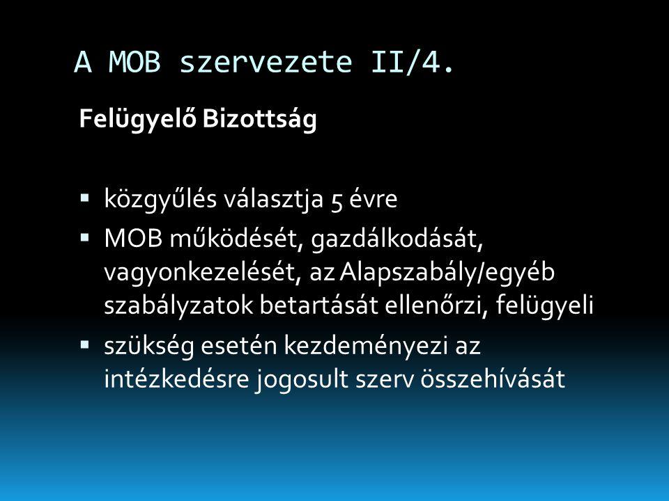 A MOB szervezete II/4. Felügyelő Bizottság közgyűlés választja 5 évre