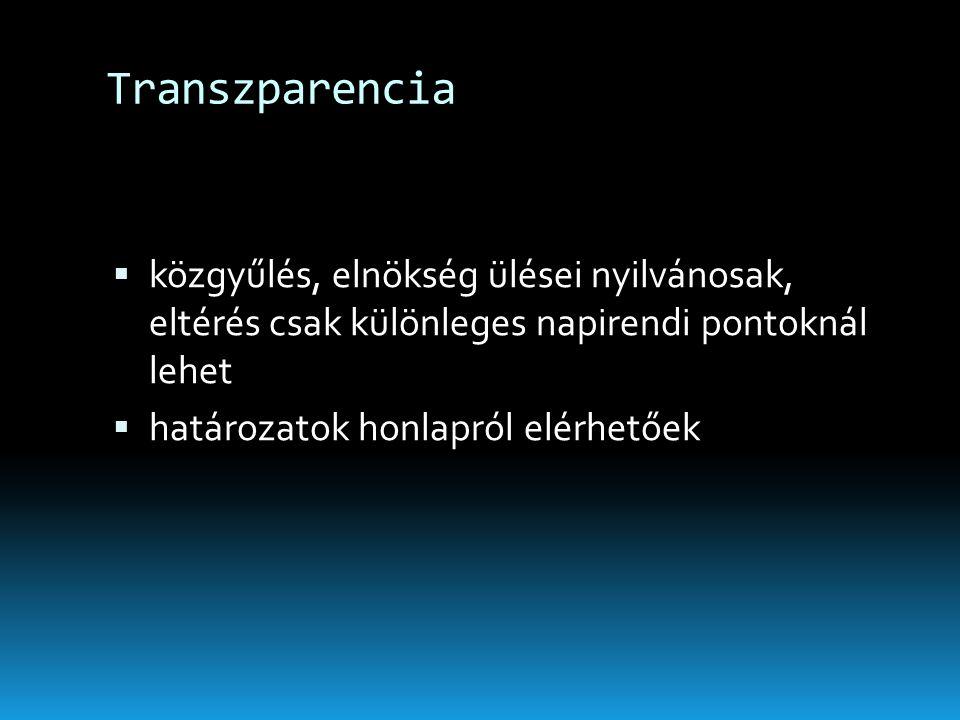 Transzparencia közgyűlés, elnökség ülései nyilvánosak, eltérés csak különleges napirendi pontoknál lehet.