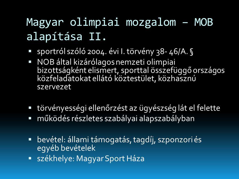 Magyar olimpiai mozgalom – MOB alapítása II.