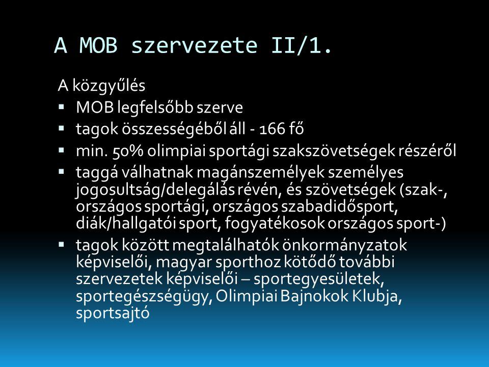 A MOB szervezete II/1. A közgyűlés MOB legfelsőbb szerve
