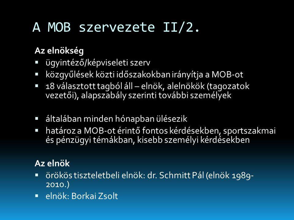A MOB szervezete II/2. Az elnökség ügyintéző/képviseleti szerv