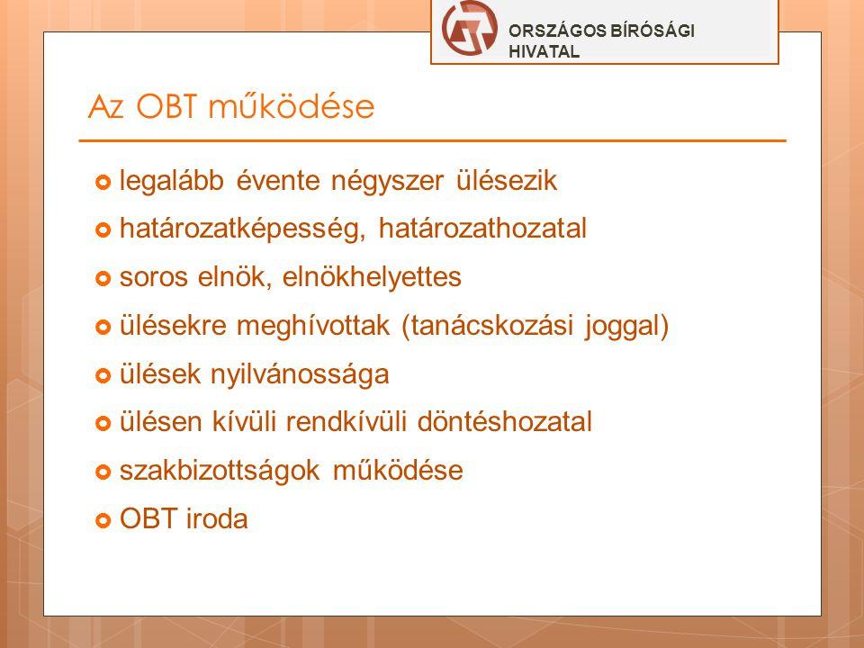 Az OBT működése legalább évente négyszer ülésezik