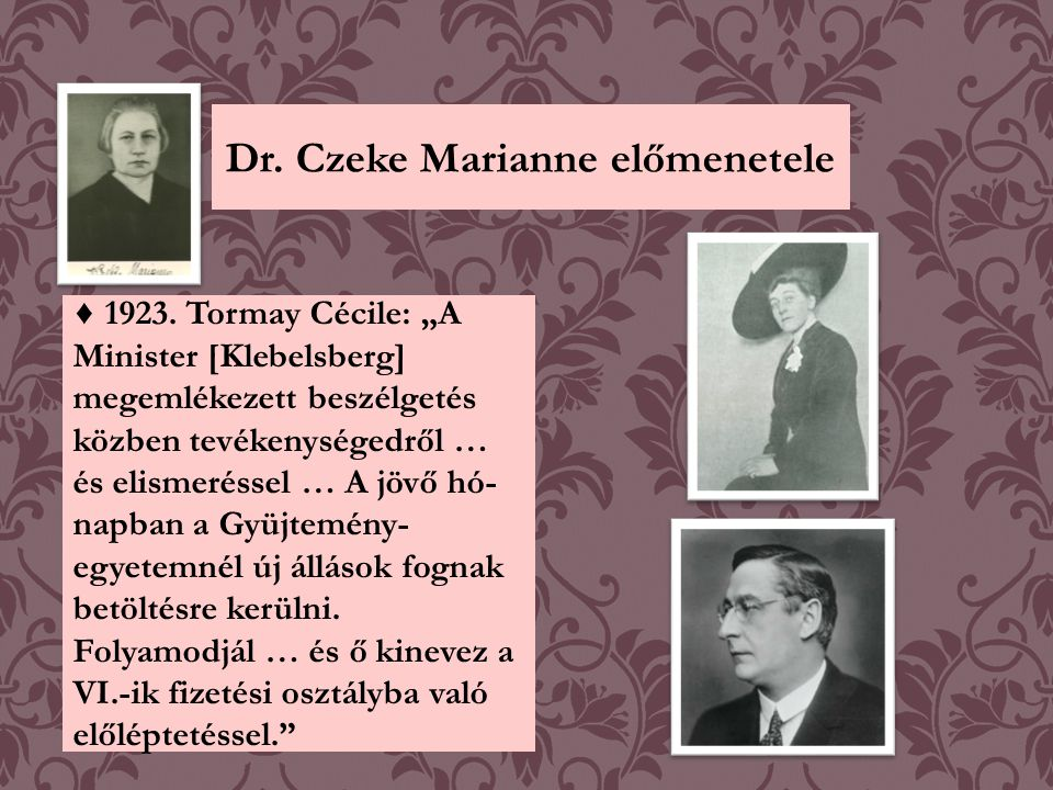 Dr. Czeke Marianne előmenetele
