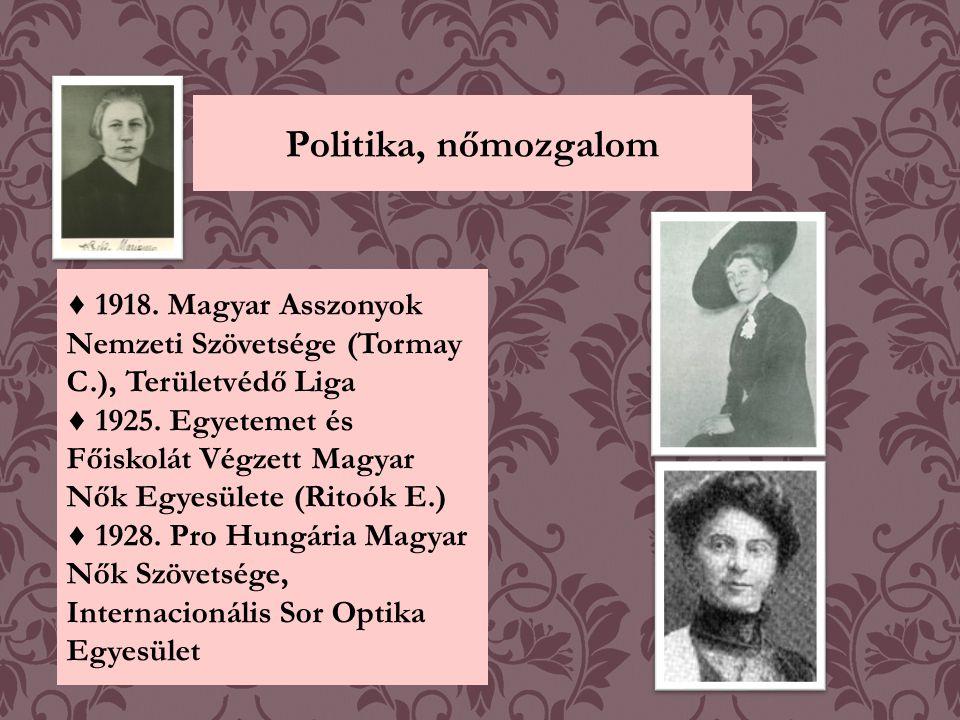 Politika, nőmozgalom ♦ 1918. Magyar Asszonyok Nemzeti Szövetsége (Tormay C.), Területvédő Liga.