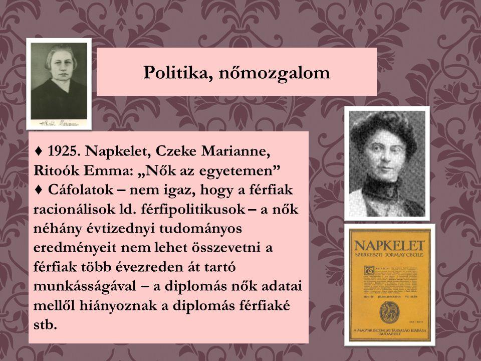 """Politika, nőmozgalom ♦ 1925. Napkelet, Czeke Marianne, Ritoók Emma: """"Nők az egyetemen"""