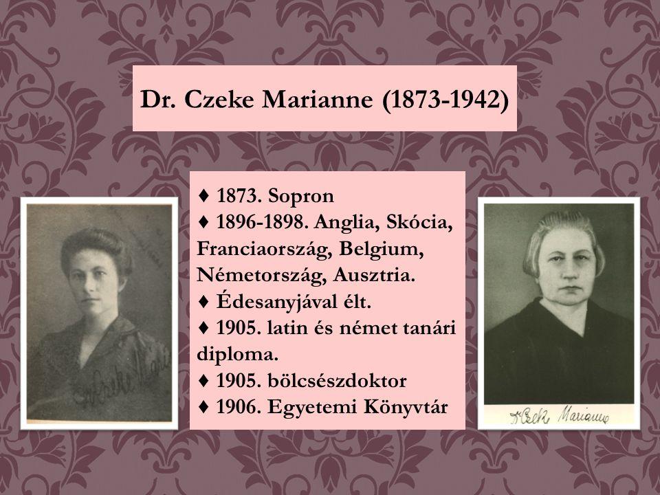 Dr. Czeke Marianne (1873-1942) ♦ 1873. Sopron