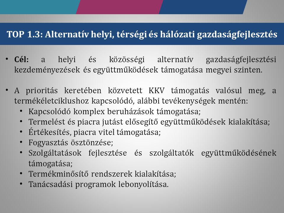 TOP 1.3: Alternatív helyi, térségi és hálózati gazdaságfejlesztés