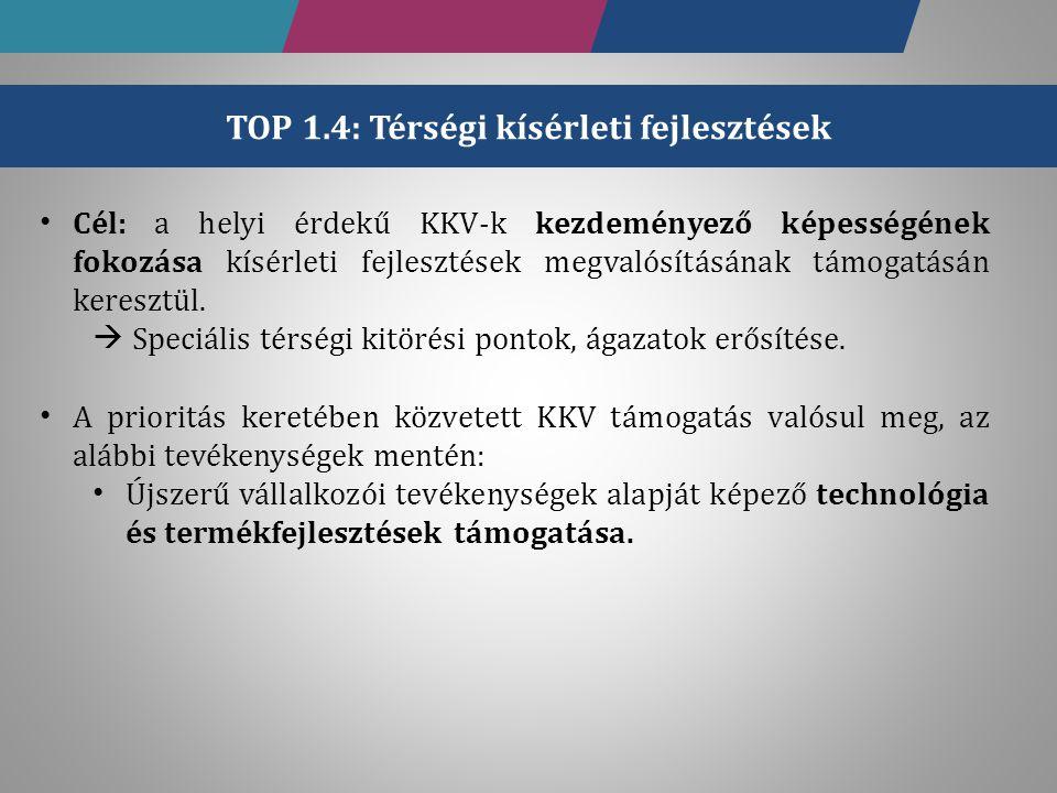 TOP 1.4: Térségi kísérleti fejlesztések