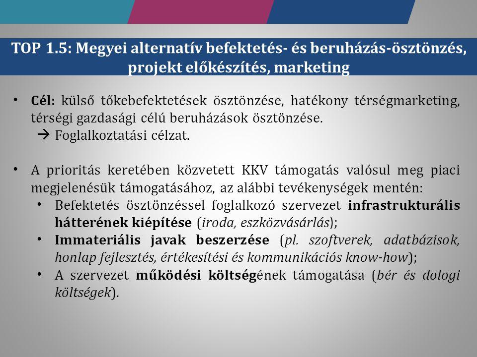 TOP 1.5: Megyei alternatív befektetés- és beruházás-ösztönzés, projekt előkészítés, marketing