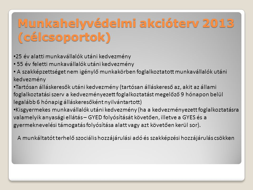 Munkahelyvédelmi akcióterv 2013 (célcsoportok)