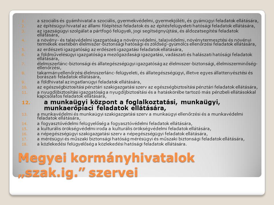 """Megyei kormányhivatalok """"szak.ig. szervei"""