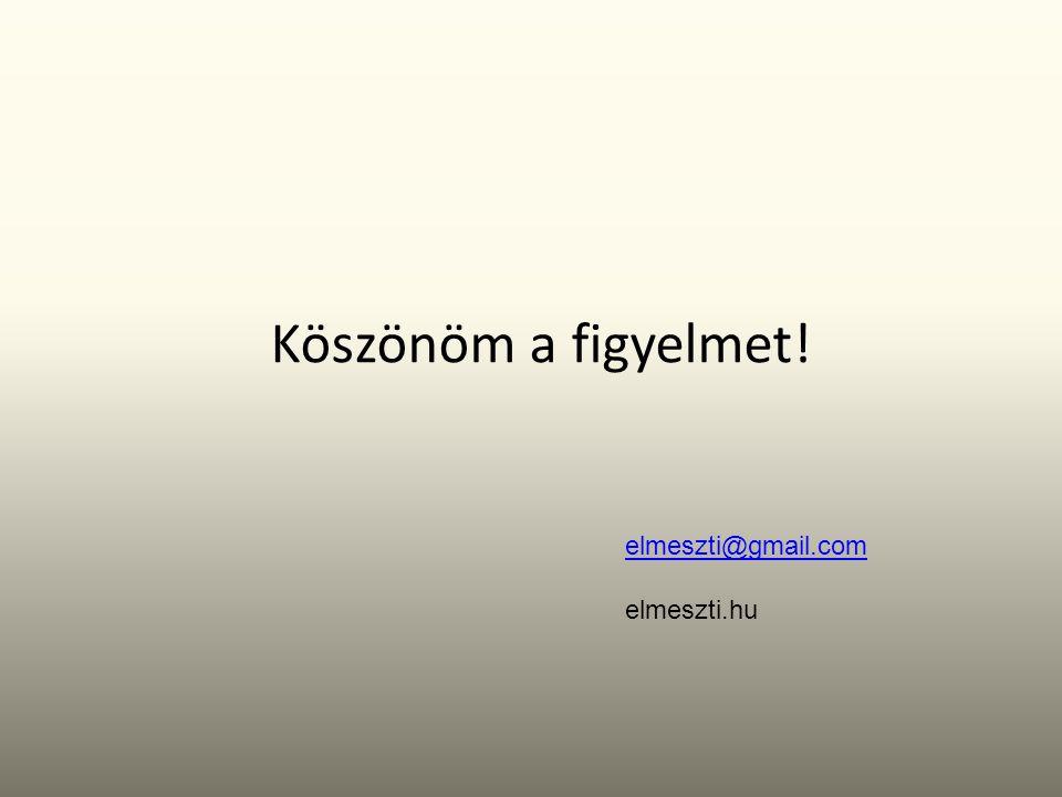 Köszönöm a figyelmet! elmeszti@gmail.com elmeszti.hu