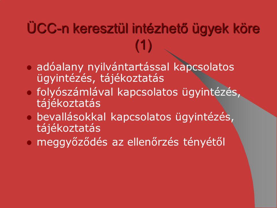 ÜCC-n keresztül intézhető ügyek köre (1)