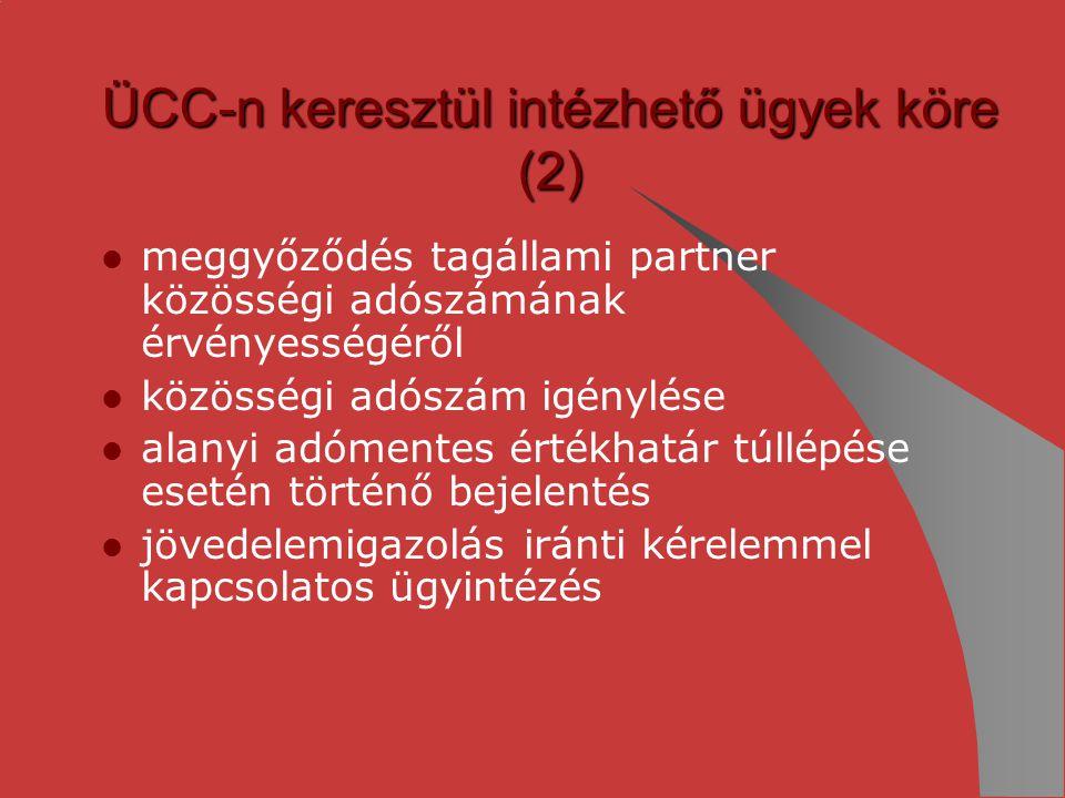 ÜCC-n keresztül intézhető ügyek köre (2)