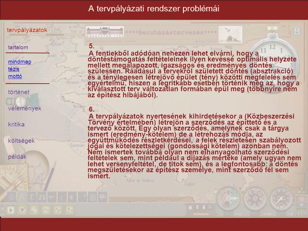 A tervpályázati rendszer problémái