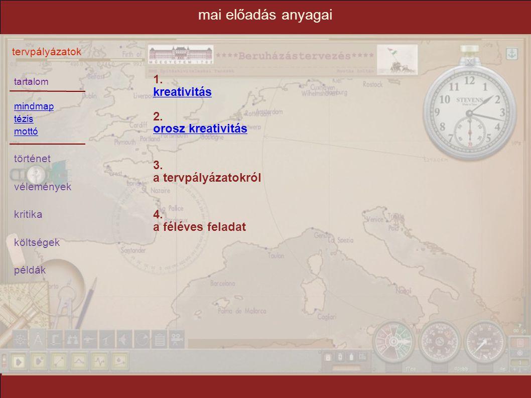 mai előadás anyagai 1. kreativitás 2. orosz kreativitás 3.