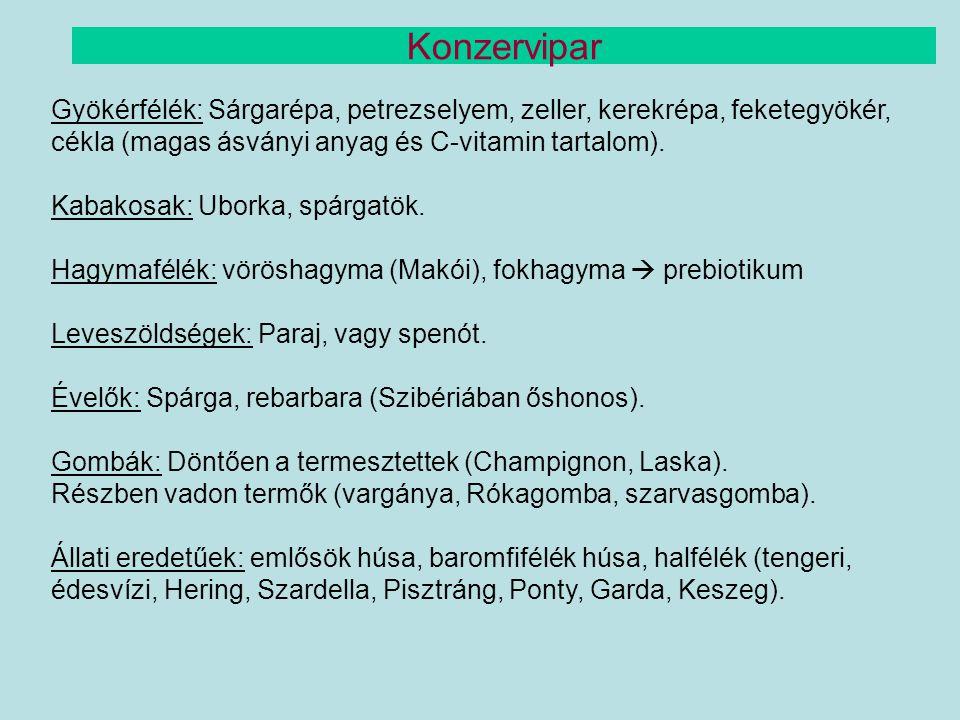 Konzervipar Gyökérfélék: Sárgarépa, petrezselyem, zeller, kerekrépa, feketegyökér, cékla (magas ásványi anyag és C-vitamin tartalom).