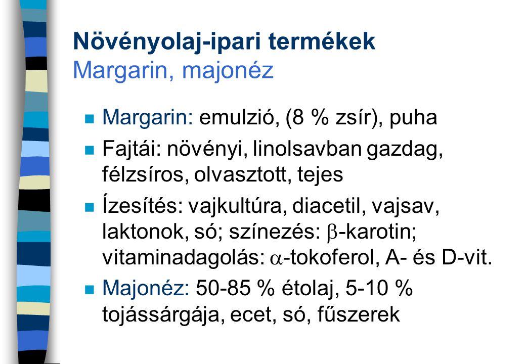 Növényolaj-ipari termékek Margarin, majonéz