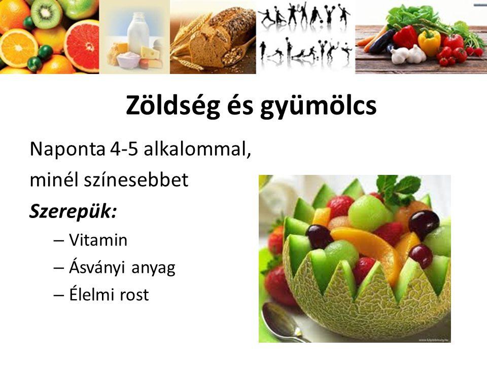 Zöldség és gyümölcs Naponta 4-5 alkalommal, minél színesebbet