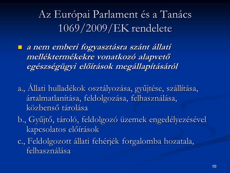 Az Európai Parlament és a Tanács 1069/2009/EK rendelete