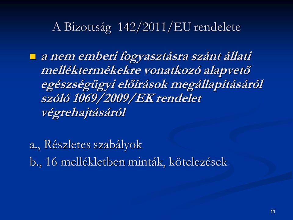 A Bizottság 142/2011/EU rendelete