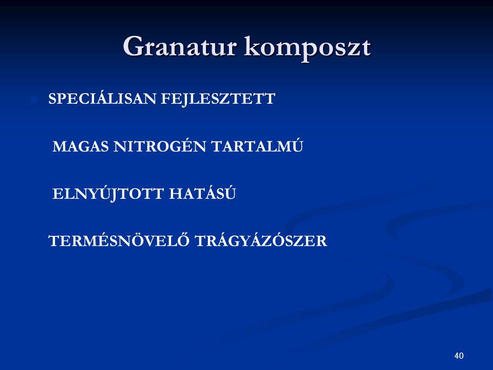 Granatur komposzt SPECIÁLISAN FEJLESZTETT MAGAS NITROGÉN TARTALMÚ