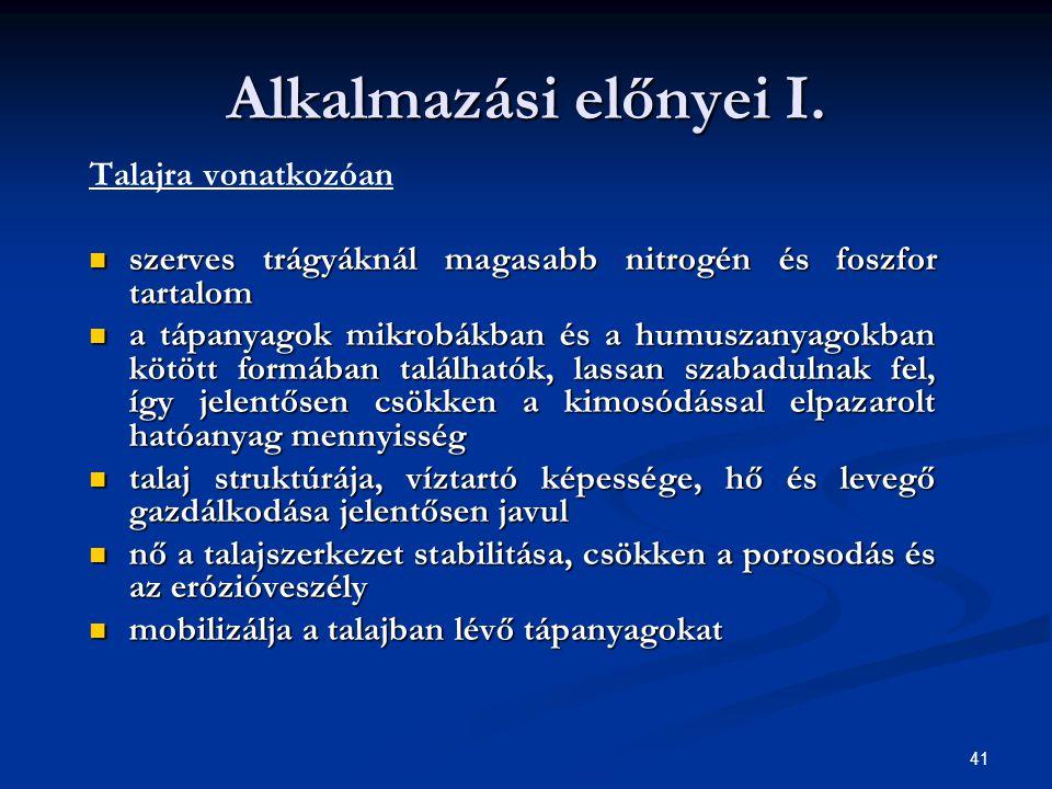 Alkalmazási előnyei I. Talajra vonatkozóan