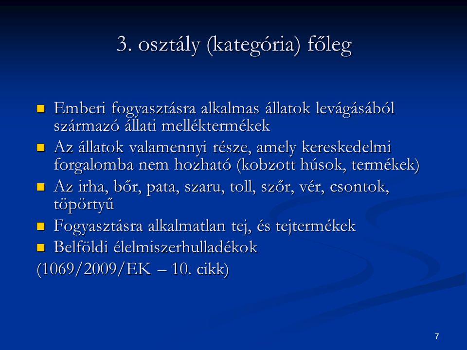 3. osztály (kategória) főleg