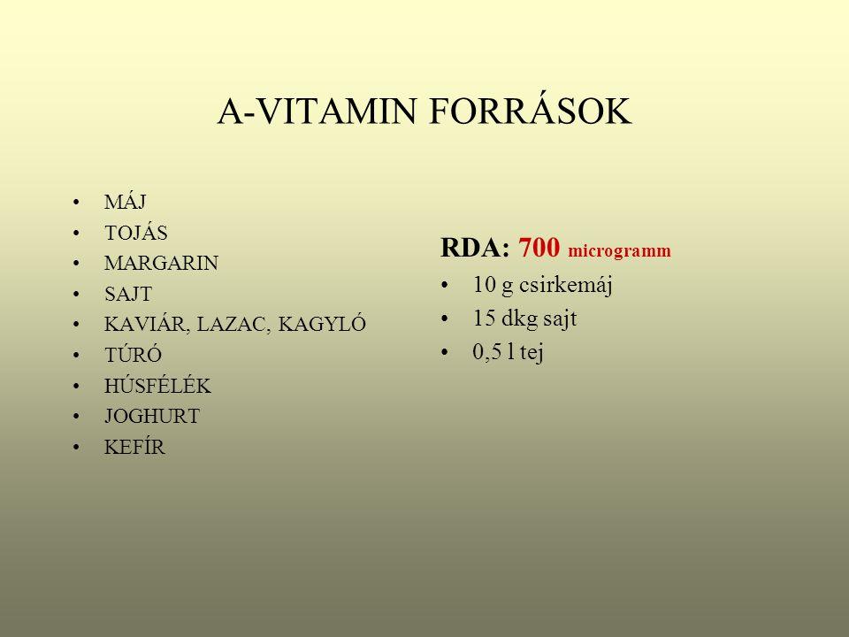 A-VITAMIN FORRÁSOK RDA: 700 microgramm 10 g csirkemáj 15 dkg sajt